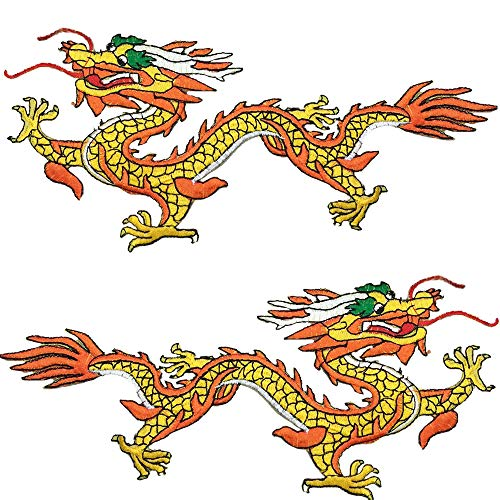 1 Pair Golden Chinese Dragon Embroidered Patches Sew-on or Iron-on Patch Applique for DIY Clothing Jeans Handbags for DIY Chinese Dragon Costume, Jeans, Jackets, Clothing, Bags
