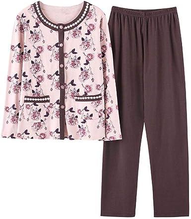 Pijamas Clásicos para Mujer Algodón Larga Otoño Manga Vintage ...