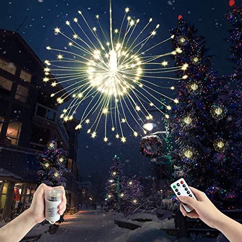 Glückluz 2 Pack Luces LED de Fuegos Artificiales de Alambre de Cobre de 120 LED Luces de Hadas que Funcionan con Baterías con Control Remoto 8 Modos de Luces a prueba de Agua Luces Colgantes Decorativas de Navidad para el Dormitorio del Patio de la Fiesta Blanco Cálido