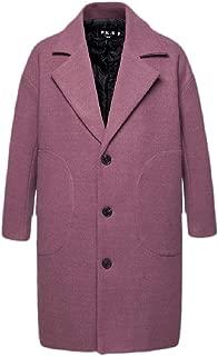 Macondoo Men Loose Mid Long Wool Blend Blazer Coat Single Breasted Notched Lapel Outwear