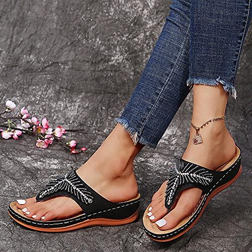 RRGG Chanclas Piscina Mujer, DRAM con Taladro Plana, Zapatillas de Pendiente de Gran tamaño-Negro_43, Zapatillas Andar por Casa