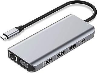 USB C Hub Dual HDMI Monitor Adapter for Laptop, USB C Docking Station Dual Monitor, USB C Hub with 2 HDMI Ports, VGA, Ethe...