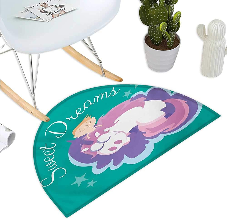 Sweet Dreams Half Round Door mats Cartoon Fantastic Horse with a Horn Mythical Creature Sleeping Next to a Boy Bathroom Mat H 35.4  xD 53.1  Multicolor