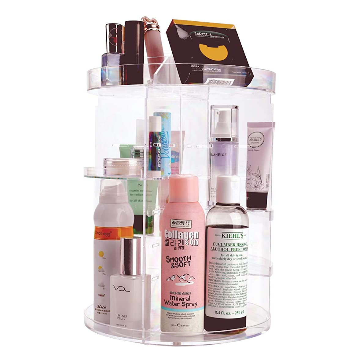 NKTM 化粧品収納ボックス コスメ収納 360度回転式 騒音なし 防塵 高透明度 強い耐久性 整理簡単 ギフト