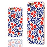 ChiChiC iPhone 6s Case Cute,iPhone 6 Case Cool,Full Protective Slim Flexible Soft TPU Rubber Clear Cases with Design for iPhone 6s 6 4.7 Inch, Vintage red Flower Blue Leaves Floral Pattern
