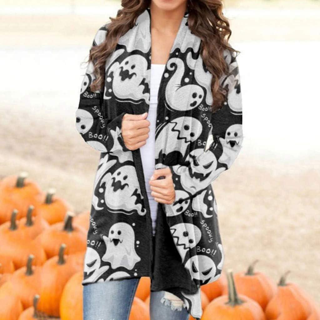 Halloween Women's Cute Pumpkin Black Cat Ghost Open Front Lightweight Coat Plus Size Long Sleeve Autumn Blouse