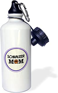 3dRose Schnauzer Dog Mom - Doggie Mama by Breed - paw Print Mum Love Doggy Lover - pet Owner Purple Circle - Sports Water Bottle, 21oz (wb_151809_1)