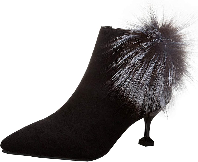 Artfaerie Womens Kitten Heel Ankle Wool Boots Pointed Toe Ladies Elegant Dress shoes with Zip