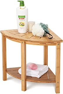 OasisSpace Corner Shower Stool, Bamboo Shower Bench with Storage Shelf, Wooden Spa Bath Organizer Seat, Perfect for Indoor or Outdoor