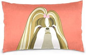 Mydaily Shih Tzu Dog Throw Pillow Case Cotton Velvet Rectangular Cushion Cover 16x24 inch