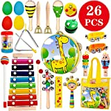 ToyerBee Musical Instruments Toys Set for Kids,26 PCS Wooden Percussion Instruments for Toddlers, Preschool& Educational Music Toy with Storage Bag for Children, Animal Tambourine, Maracas&More