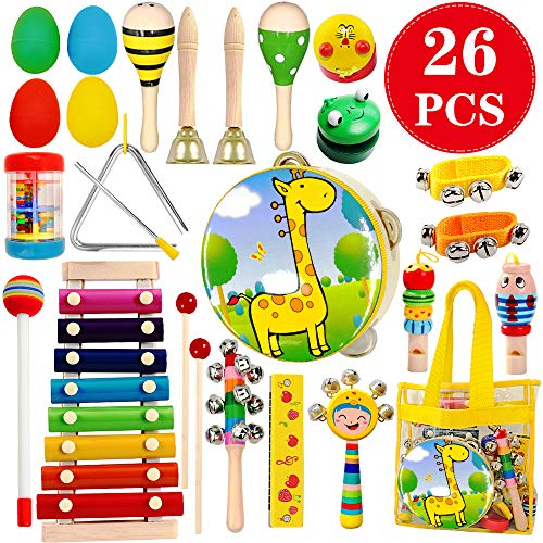 ToyerBee Musical Instruments Toys Set for Kids,26 PCS Wooden Percussion Instruments for Toddlers, Preschool& Educational Music Toy with Storage Bag for Children., Animal Tambourine, Maracas&More