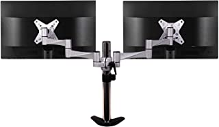 QualGear QG-DM-02-016 3 Way Articulating Dual Desk Mount for 13-27 Inches Flatpanel Monitors, Silver