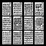 TADAE 12 Pack Kunststoff Buchstaben Nummer Alphabet Kugel Journal Schablone Vorlage, perfekt für Planer/Notebook/Tagebuch/Scrapbook/Graffiti/Karte, DIY Zeichnung Malerei Handwerk Projekte