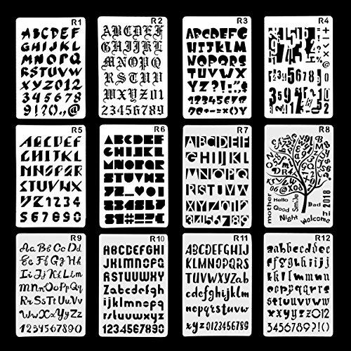 TADAE Confezione da 10 lettere di plastica Numero Alfabeto Bullet Journal Stencil Template, Perfetto per Planner/Notebook/Diario/Scrapbook/Graffiti/Card, Disegno a mano Pittura Progetti artigianali