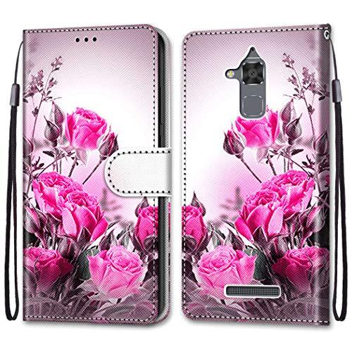 LEMORRY Handyhülle für Asus Zenfone 3 Max ZC520TL Hülle Leder PU Flip Hülle mit Standfunktion & Magnetisch Kartensteckplatz Tasche Schutzhülle für Asus Zenfone 3 Max ZC520TL, Blume