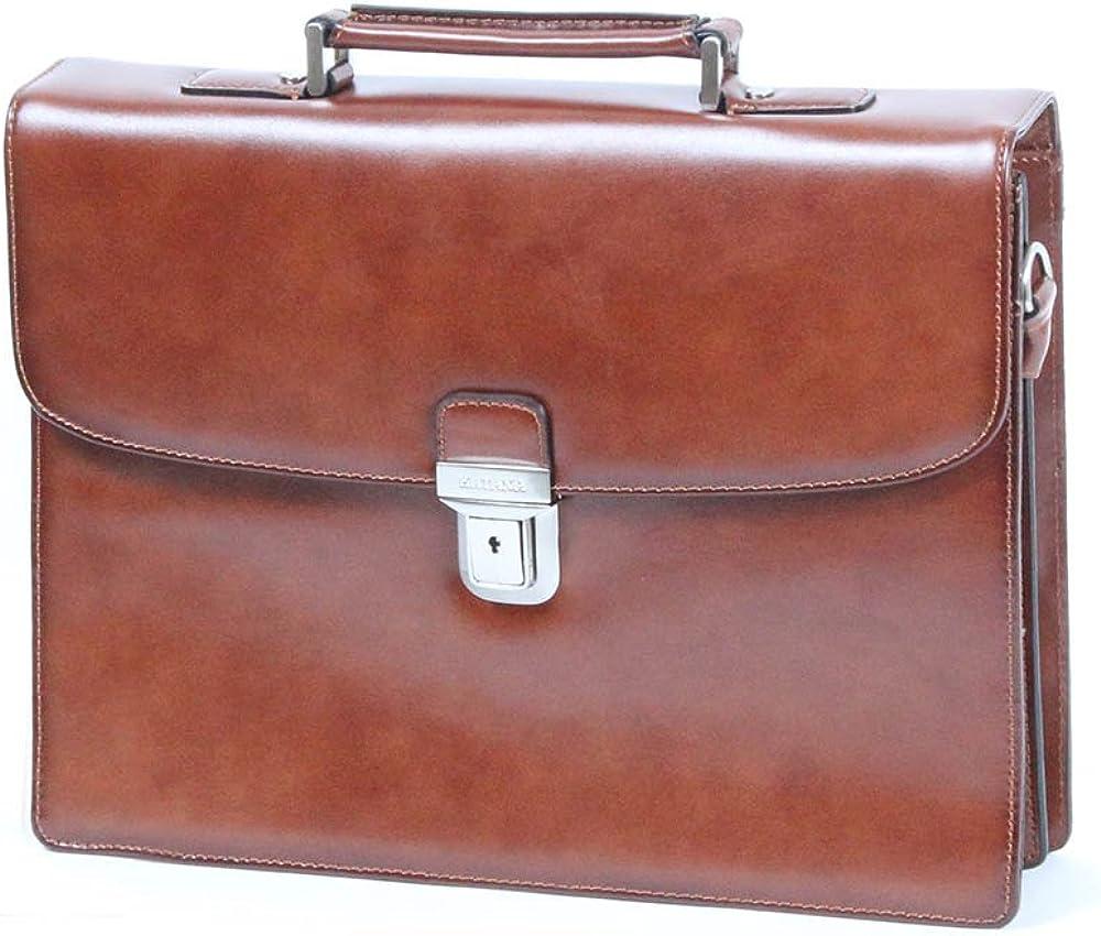 Katana, borsa da lavoro a mano/tracolla per uomo, in vera pelle, marrone chiaro k63041B