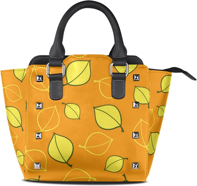 My Little Nest Women's Top Handle Satchel Handbag Yellow Autumn Leaves Ladies PU Leather Shoulder Bag Crossbody Bag
