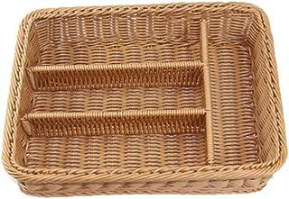 TOPBATHY 1PC Kitchen Drawer Organizer Cutlery Storage Basket 4 Compartments Kitchen Forks Knifes Rattan Storage Tray