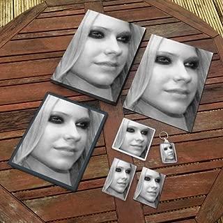 Avril Lavigne - Original Art Gift Set #js004 (Includes - A4 Canvas - A4 Print - Coaster - Fridge Magnet - Keyring - Mouse Mat - Sketch Card)