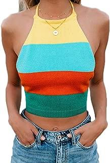 Gniherii Womens Sleveless Backless Rainbow Stripe Sweater Bandaged Knit Tank Tops Crop Sexy Vest