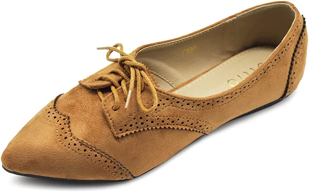 Ollio Dedication Womens Ballets Shoes Japan's largest assortment Flats Toe Oxford 1M1818 Pointed