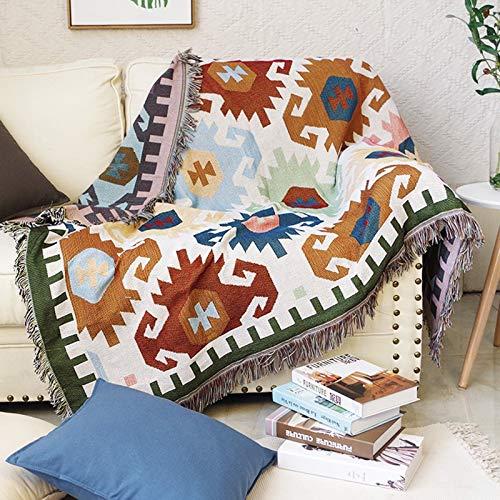kangzhiyuan Manta de punto geométrica para sofá de punto, funda protectora, con borla antideslizante de algodón, para cama al aire libre, manta de punto (tamaño: 130 x 160 cm)