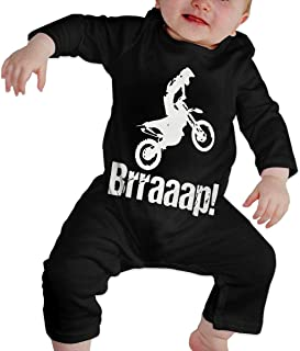 XHAKZM71 Toddler Round Collar Brraaap Dirt Bike Motocross Long Sleeve Pajamas Sleepwear 100% Cotton, Suit 6-24 Months