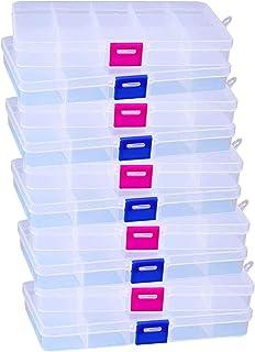 ZYHDFH 10 Grilles Boîte de Rangement Plastique Transparentes Boîte à Bijoux Conteneur Polyvalent avec Diviseurs à Comparti...