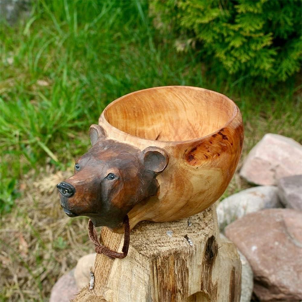Sale item RYKJ-F Max 90% OFF Kuksa Hand Carved Wooden Animals Mug Guksi Head Im