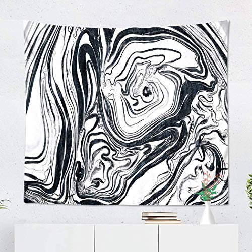 Elinna Tapestry Wall Hanging Polyester Black Silver Marble Wallpaper Ink Marble Home Decor Living Room Bedroom Dorm 50 X 60 Inches Picnic Mat Beach Towel 60x51in(130x150cm)