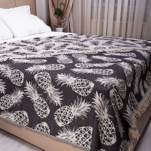 100prozent Baumwolle King Size Tagesdecke Bohemian Style Bettüberwurf mit Quasten Wendedecke Boho Decke Ananas Muster 220x240cm Anthrazit