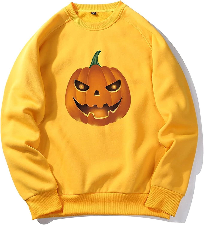 Pullover for Men's Blouse Tops Halloween Pumpkins Printed Fleece Sweater Loose Plus Size Long Sleeve Sweatshirt