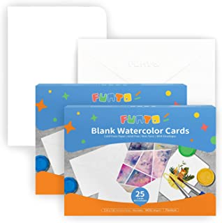 $21 » Funto Blank Watercolor Cards and Envelopes, 5 x 7 Inches, 50 Envelopes, White, 140lb/300gsm, Blank Cards for Watercolor Pa...