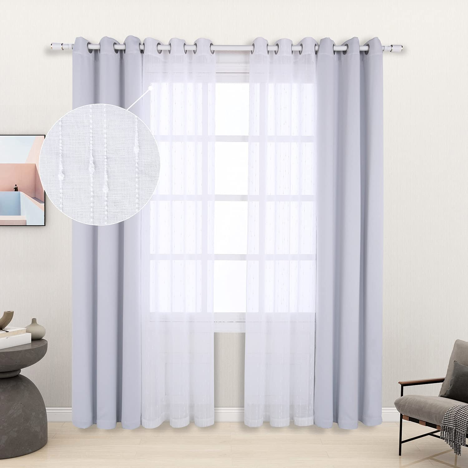 LORDTEX Mix OFFer and Match Curtain - Whi Pieces Linen Slub Ranking TOP16 Textured 2