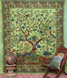 Popular Handicrafts Tree of Life Bohemian Psychedelic Intricate Floral Design Indian Bedspread Tapestry 90x84 Inches,(230cmsx215cms) Green