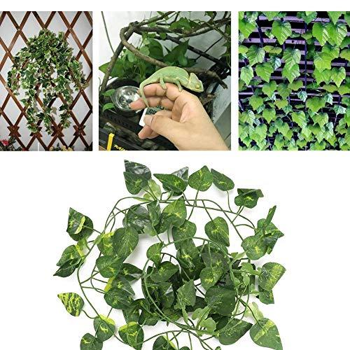HEEPDD 6.89ft Lange Reptilreben künstliche gefälschte Blätter Flexibler Dschungel Bergsteiger für Reptilien und Amphibien Lebensraum Dekor(Scindapsus Blätter)