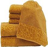 my cocooning Juego de toallas Stones 6 piezas mostaza, suave y absorbente, 100%...