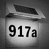 Hausnummer beleuchtet Solar Edelstahl LED Dämmerungssensor witterungsbeständig Hausnummernschild Solarhausnummer Schild