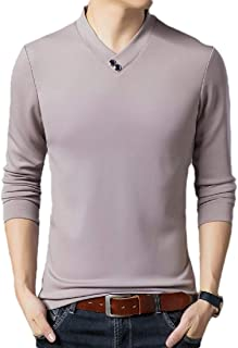Men's V-Neck Button Slim Muscle Tops Tee Long Sleeves T-Shirts