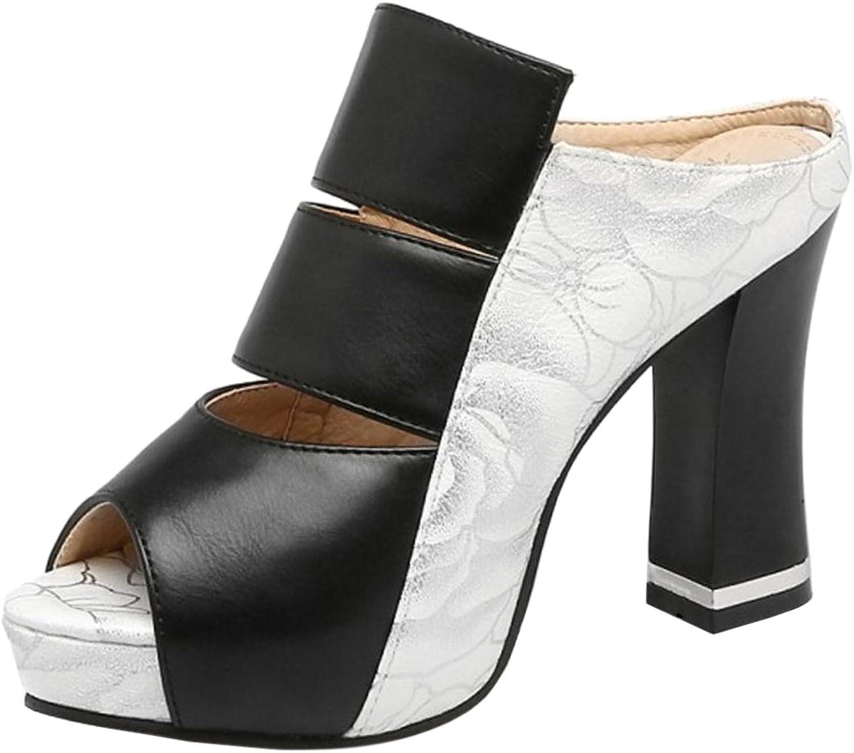 TAOFFEN Women Fashion Platform Sandals Mules