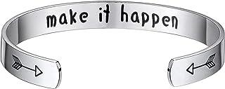 Vinjewelry Motivational Encouragement Bracelet Cuff Bangle Friend Gifts Ideas Women Personalized Jewelry Stainless Steel