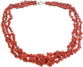 Collana 3 fili con scaglie in corallo rosso naturale mediterraneo a scalare, pescato e lavorato in maniera sostenibile - c...