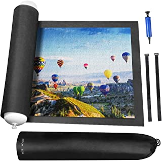 Rollable Jigsaw Puzzle Mat with Storage Bag, Store Puzzle for Next Play, Jigsaw Puzzle Roll Mat Board Up to 1500 Pieces Felt Mat Inflatable Tube, Inflator and Fasteners Strap(46.5 x 26.5 inch)