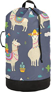 xigua Sac à dos à linge lama avec bretelles et cordon de serrage en nylon pour université, buanderie, appartement