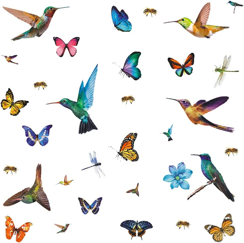 32Pcs Watercolor Butterfly and Hummingbird Stickers, Bee Dragonfly Flower Wall Decals, Self Adhesive Flying Bird Art Decor for Bedroom, Nursery, Kids Playroom