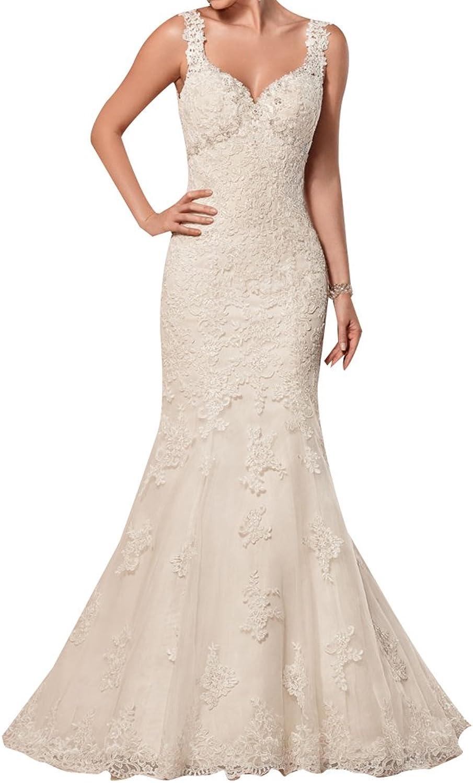 Irenwedding Women's Spaghetti Fishtail Sequins Beading Appliques Lace Open Back Wedding Dress