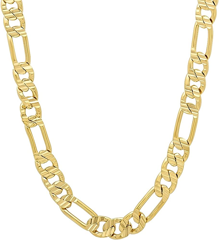 The Bling Factory Austin Mall 5.7mm 14k Yellow price Figaro Plated Gold Chain Flat