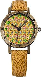 Brand Retro Bronze Vintage Leather Strap Watches Ladies Girl Quartz Watch Abstract Flowers 489.Pattern, Seamless, Floral, Flower, Bird of Paradise
