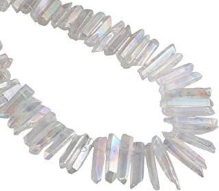 mookaitedecor Titanium Coated Rock Crystal Quartz Crystal Points Loose Beads Sticks Spikes Top Drilled 15 inches Strand